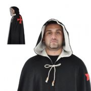Black Pure Wool Cloak With Templar Red Cross